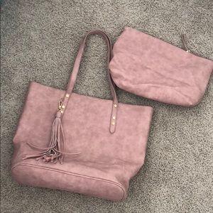 Vegan leather tote + cosmetic bag